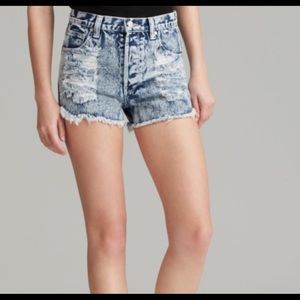Minkpink Acid Wash Distressed Denim Shorts, XS